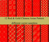 12 Red&Gold Chinese new year asian background. 12 Red&Gold background, Chinese new year, Asian,with lucky word, different vector seamless patterns Endless Stock Images
