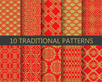 Red and gold chinese patterns, vector. 10 different traditional chinese patterns. Endless texture can be used for wallpaper, pattern fills, web page background Stock Image