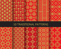 Red and gold chinese patterns, vector Royalty Free Stock Image