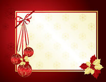 Red and gold Christmas background. With decorative bulbs and holly berries Royalty Free Stock Photos