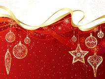 Red and gold Christmas background. Stock Image