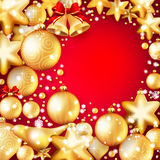 Red and gold christmas background. EPS 10. Beautiful red and gold christmas background. EPS 10 vector file included Royalty Free Stock Photo