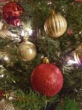 Red and gold Christmas ball decorations. White and gold Christmas ball decorations hanging on a Christmas tree with some red ribbon Stock Image