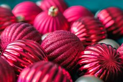 Christmas ball ornaments waiting to go on the tree. Royalty Free Stock Photos