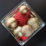 Christmas ball ornaments in glass jar for decoration. Stock Images