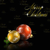 Red and gold christmas balls on black background. Vector eps10 illustration Stock Photos