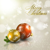 Red and gold christmas balls on grey background Stock Images