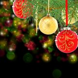 Red and gold christmas balls on spruce branch. Stock Photo