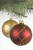 Red and Gold christmas baubles stock photos