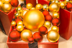 Red and gold Christmas baubles. Christmas decoration Stock Images