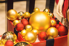 Red and gold Christmas baubles. Christmas decoration Stock Photo