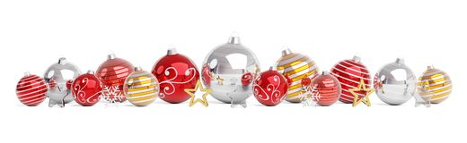 Red and gold christmas baubles isolated 3D rendering stock illustration