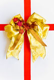 Red and gold Christmas bow Stock Images
