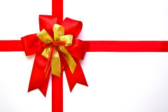 Red and gold Christmas bow Stock Photography