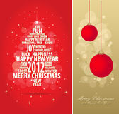 Red and gold christmas card. Abstract christmas gold and red card with tree of season words, all elements are in separate layers and grouped, easy to edit, eps Royalty Free Stock Photo