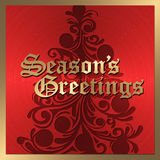 Red and Gold Christmas Card vector illustration