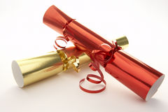 Red And Gold Christmas Crackers Stock Images