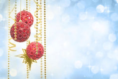 Red and Gold Christmas Decoration on Defocused Lights Background Royalty Free Stock Image