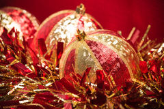 Red and Gold Christmas Decorations Stock Photography