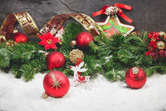 Red and gold Christmas decorations Stock Images