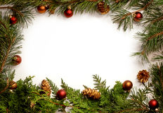 Red & Gold Christmas foliage frame Stock Photo