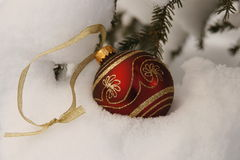 Red and gold christmas ornament. Red and gold Christmas ball on a snow covered tree branch Royalty Free Stock Images