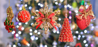 Red and gold christmas ornament Royalty Free Stock Photos