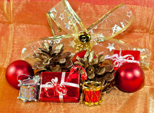Red and gold Christmas ornaments Stock Image