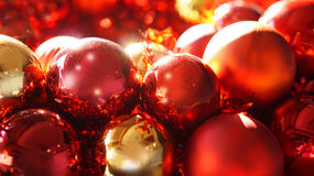 Red and gold christmas ornaments background Royalty Free Stock Photos