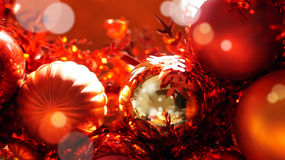 Red and gold christmas ornaments background Royalty Free Stock Images