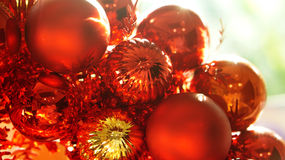 Red and gold christmas ornaments background Stock Photos