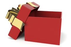 Red And Gold Christmas Present Stock Photo