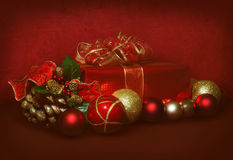 Red and gold christmas scene stock photo