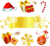 Red and gold christmas set Royalty Free Stock Image
