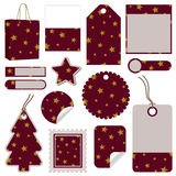 Red and gold christmas tags Stock Images