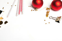 Red and gold color Christmas decor Royalty Free Stock Photo