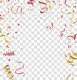 Red gold confetti concept design background. Celebration Festive. Illustration of Falling Shiny Stock Photos