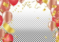 Red and gold ConfettiVector Festive Illustration of Falling Shin. Y Confetti Isolated on Transparent Checkered Background. Holiday Decorative Tinsel Element for Stock Photos