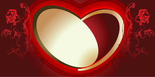 Red And Gold Cupids And Heart Stock Image