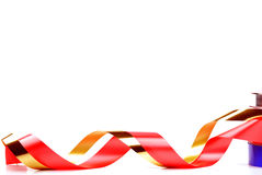 Red and gold curl ribbon Stock Photo