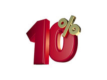 10% in Red and gold. 3D Numbers isolated on white background Stock Photos