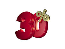 30% in Red and gold. 3D Numbers isolated on white background Stock Photography