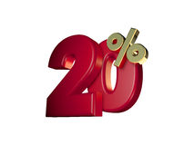 20% in Red and gold. 3D Numbers isolated on white background Stock Photo