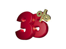 35% in Red and gold. 3D Numbers isolated on white background Stock Photo
