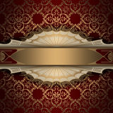 Red and gold decorative background with patterns. Stock Photography