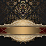 Red and gold decorative background with patterns. Royalty Free Stock Photo