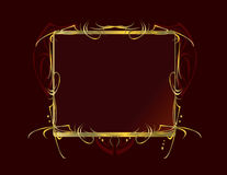 Red gold decorative frame background. Red and gold frame on a dark red background Stock Images