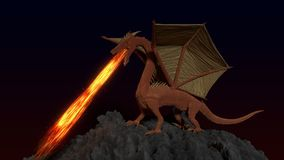 Red Gold Dragon. CGI, A Red and Gold Dragon standing on a mound breathing fire vector illustration