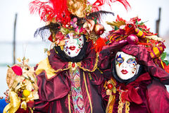Red and gold fancy costumes Royalty Free Stock Photography