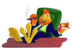 Red gold fat cock boss with cigar and whiskey put his feet on table. Rooster symbol 2017 Stock Photo